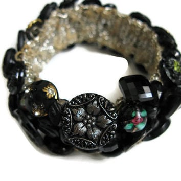Antique Button Bracelets Jewelry Black Glass Old Buttons Vintage Estate Mourning Buttons