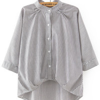 Black and White Striped Knot Sleeve Blouse