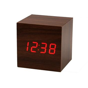 Mini Cube Style Digital Red LED Wooden Wood Desk Alarm Brown Clock Voice Control