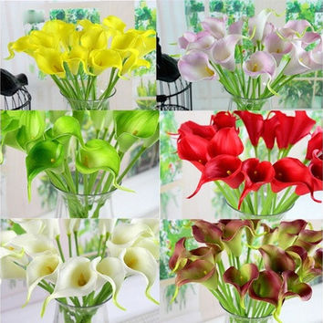 Sweet 10Pcs Artificial Latex Calla Lily Flower Bouquet Home Wedding Bridal Decor [7981613255]