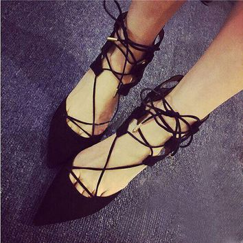 Strappy Solid Color Pointed Toe High Heels Shoes