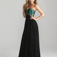 Night Moves by Allure 2013 Prom Dresses - Black Chiffon & Sequin Sweetheart Empire Waist Prom Dress