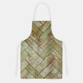 "Heidi Jennings ""Patina"" Green Wood Artistic Apron"