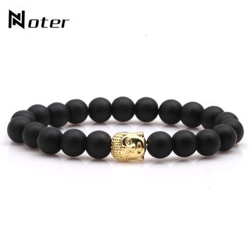 Noter Black Matte Buddha Bracelet Gold Silver Color Buddhism Onyx Meditation Braclet For Men Women Armband Jewelry Homme
