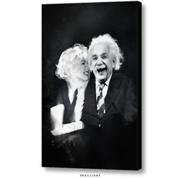 ORIGINAL ALBERT EINSTEIN MARILYN MONROE BEAUTY BRAIN WALL ART c 2015 Brailliant