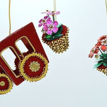 Beaded Sequin Christmas Ornaments Red & Gold Holiday Train with Flower Pots