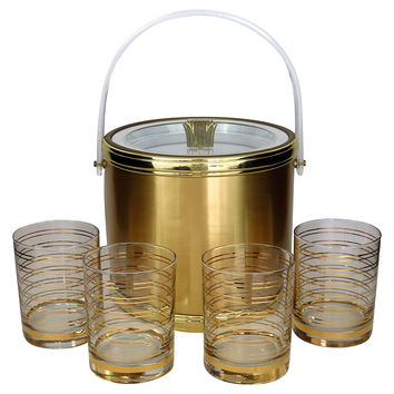 Georges Briard Ice Bucket w/4 Glasses