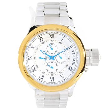 Invicta 15932 Men's Russian Diver Chronograph Gold Tone Bezel Silver Dial Steel Watch