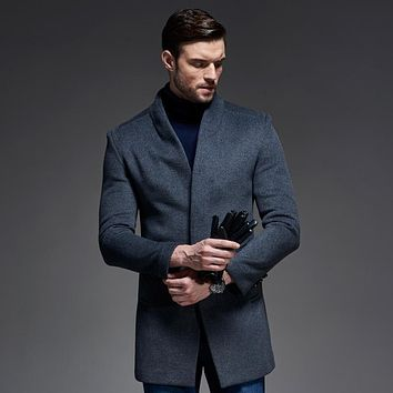 Winter Wool Coat Men Slim Fit Jacket Mens Fashion Outerwear Warm Male Casual Jackets Overcoat Woolen Pea Coat Plus Size XXXL