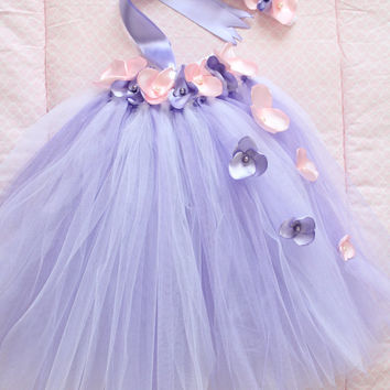 Gorgeous Pink and Lavender Petal Flower Girl Tutu Dress for your 6-18 Months Baby Girl First Birthday