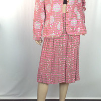 Vintage 80s Silk Suit Pleat Skirt Boxy Jacket Blazer Pink Green Op Art Graphic Ann Crimmins UMI Collections tag 14 waist 30-34