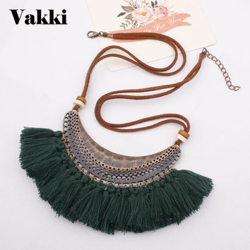 Top Sale Alloy Crescent Moon Pendant Necklace Fashion Bohemia Colorful Tassels Sweater Chain Necklace Woman Accessories