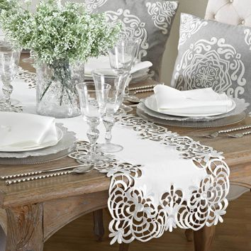 Arabella Embroidered Cutwork Lace Table Runner | 72-Inch