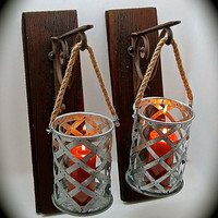 Rustic Sconce Pair, Candle Sconces, Handmade Sconce, Reclaimed Stained Barnwood and Aluminum Can Hanging Sconces with Rope Handle UNIQUE
