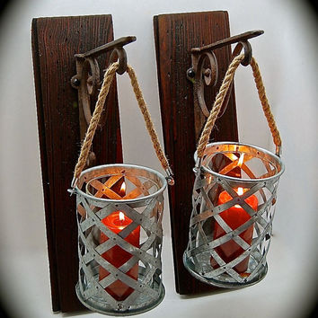 Rustic Sconce Pair, Candle Sconces, from BeachDazzled on Etsy