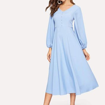 Buttoned Front Lantern Sleeve Fit & Flare Dress