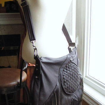 Mahogany brown fringes bag, Large leather fringes satchel, boho purse, hobo bag, Bohemian messenger, convertible backpack, bucket bag