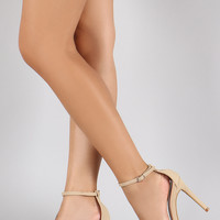 Anne Michelle Nubuck Ankle Strap Open Toe Stiletto Heel