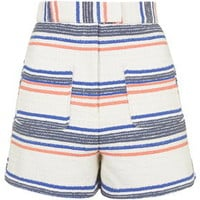 Boucle Striped High-Waisted Shorts - Blue