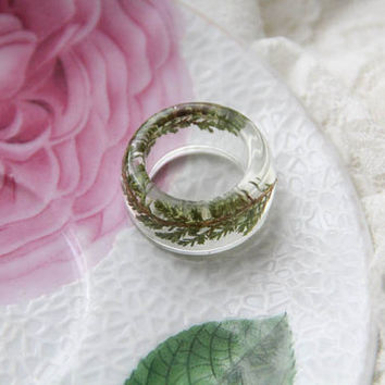 Heather Flower Resin Ring, Christmas Ring, Transparent Resin Jewelry, Unique Botanical Floral Ring, Preserved in Resin Real Dried Flower