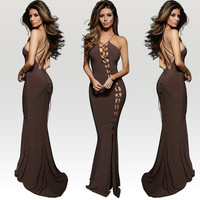 Halter Drawstring Cutout Strappy Crossback Evening Dress