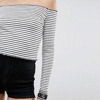 PrettyLittleThing Frill Edge Stripe Bardot Top at asos.com