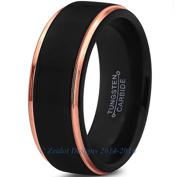 8mm Rose Gold Step Beveled Black Pipe Cut