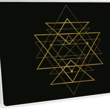 'Golden Geometric Triangles' Laptop Skin by PeaceLuvJoy