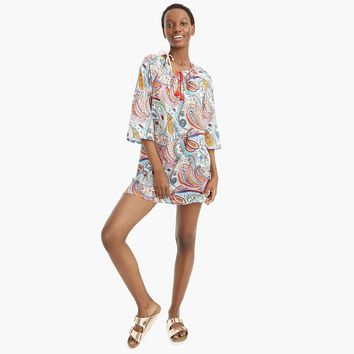 Tassel-tie beach tunic in Ratti® scribble floral