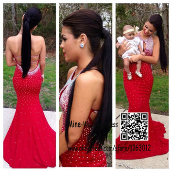 Fashionable Halter Neckline Low Cut Backless Mermaid Prom Dresses Beaded Red Chiffon Evening Gowns Sexy Open Back