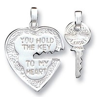 Sterling Silver Heart and Key Pendants