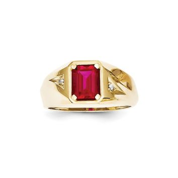 10k Yellow Gold Simulated Ruby & Diamond Men's Ring