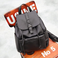 Black Leather Vintage Backpack Travel Daypack School Bag