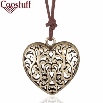 woman jewelry vintage statement necklaces & pendants,cotton long rope love big heart pendant necklace women collares mujer
