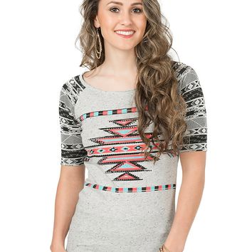 Rock & Roll Cowgirl Women's Grey with Pink and Blue Aztec Design 1/2 Sleeve Casual Knit Top