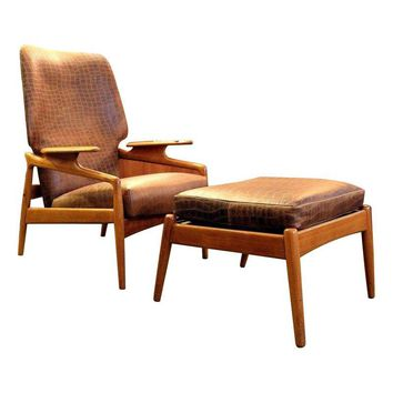 Pre-owned Danish Modern Lounge Chair with Ottoman