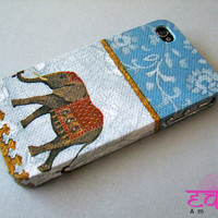 iPhone 4 Case iPhone 4S Case  Elephant iPhone Case  Blue Pattern iphone 4s Case
