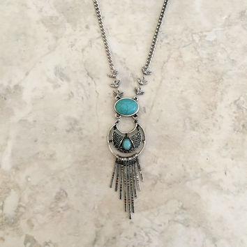 Long Bohemian Inspired Fringe Necklace - Turquoise