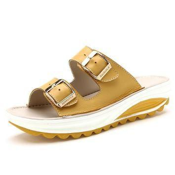 2016 Summer Slippers Women Slides Sandals Genuine Leather Platform Wedges Slippers Ope