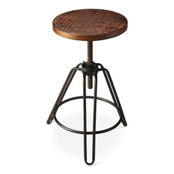 Trenton Industrial Modern Round Revolving Bar Stool Recycled Wood