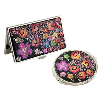 Mother of Pearl Flower Metal Compact Makeup Beauty Handbag Purse Hand Mirror Business Credit Card Christmas Women Lady Gift Set