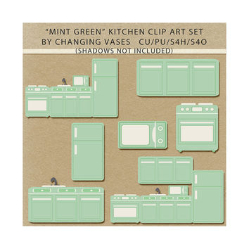 Pastel Mint Green Kitchen Clipart Clip Art Graphics, Kitchen Appliances, Microwave Refrigerator Stove Kitchen Scenes, Scrapbook Elements