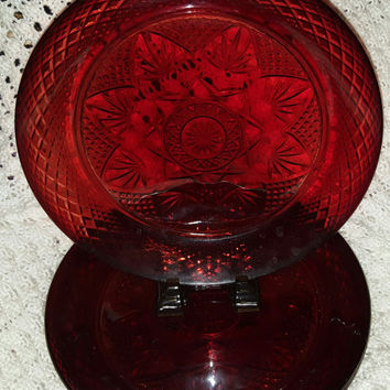 Four 10 Inch Stunning Cristal d'Arques Durand Ruby Red Dinner Plates, Starburst Pattern, Depression Glass, Made In France,