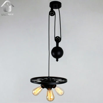 Black Vintage  Metal Wheel Hanging Ceiling Pulley Pendant Light With 3 Lights