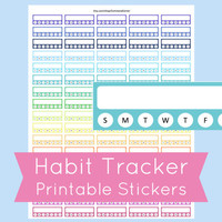 Habit Tracker Stickers, Habit Tracker Printable, Printable Planner Stickers, for use with ERIN CONDREN LIFEPLANNER™