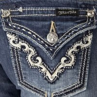 Miss Me® Ladies Cream Leather & Embroidery w/ Crystals Boot Cut Jean