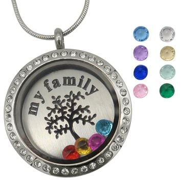 Evelots Family Tree of Life Floating Charm Locket Necklace, 12 Birthstones