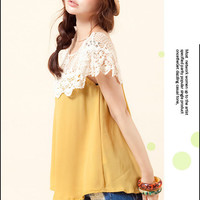 Classic White Hollowed Lace Collar Chiffon Babydoll Tee Top 2 Colors