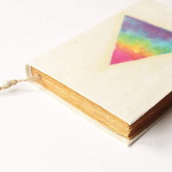 triangle, journal, diary, notebook, old, dyed paper, batik fabric, blank book, antique book, travel journal