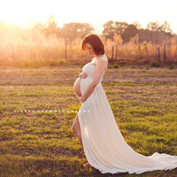 Maternity Gown with Lace Jacket for a little extra coverup or accent, Maternity Photography Prop, Maternity Prop
